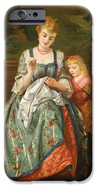 Sewing iPhone Cases - The Sewing Lesson iPhone Case by Edward Charles Barnes