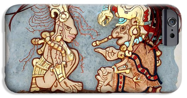 Food And Beverage Reliefs iPhone Cases - The Shaman and the Goddess of Corn iPhone Case by Alberto H-B