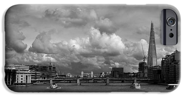 Piano iPhone Cases - The Shard and the Thames at Southwark black and white version iPhone Case by Gary Eason