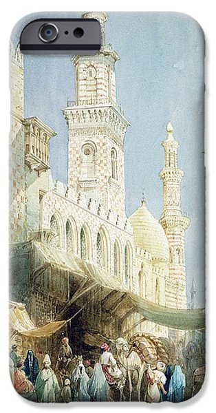 Egypt iPhone Cases - The Sharia  El Gohargiyeh, Cairo iPhone Case by William Henry Bartlett