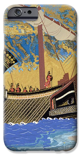 Warship iPhone Cases - The Ship of Odysseus iPhone Case by Francois-Louis Schmied