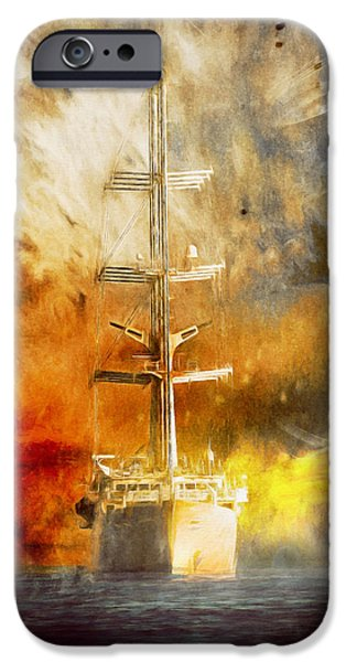 Tall Ship Mixed Media iPhone Cases - The Ship That Came Home iPhone Case by Georgiana Romanovna