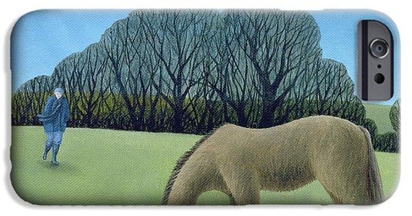 Rural iPhone Cases - The Shire Horse, 2006 Oil On Canvas iPhone Case by Ann Brain