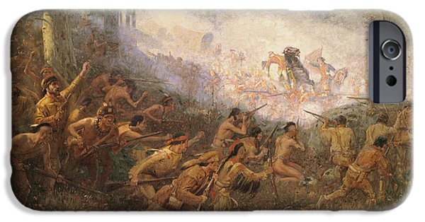 Victory iPhone Cases - The Shooting Of General Braddock At Fort Duquesne, Pittsburgh, 1755 Oil On Canvas iPhone Case by Edwin Willard Deming