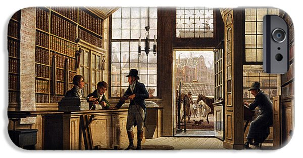 19th Century Photographs iPhone Cases - The Shop Of The Bookdealer Pieter Meijer Warnars On The Vijgendam In Amsterdam, 1820, By Johannes iPhone Case by Bridgeman Images