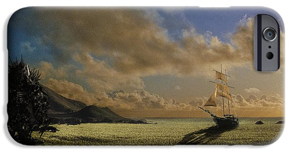 Surreal Landscape iPhone Cases - The Shrike of Hyperion at the Sea of Grass iPhone Case by Nathan Spotts