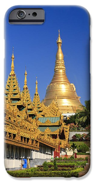 Buddhist iPhone Cases - The Shwedagon pagoda in Yangon Myanmar iPhone Case by Henry MM