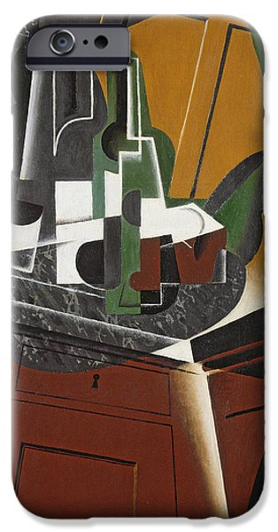 Fragment iPhone Cases - The Sideboard, 1917 Oil On Plywood iPhone Case by Juan Gris