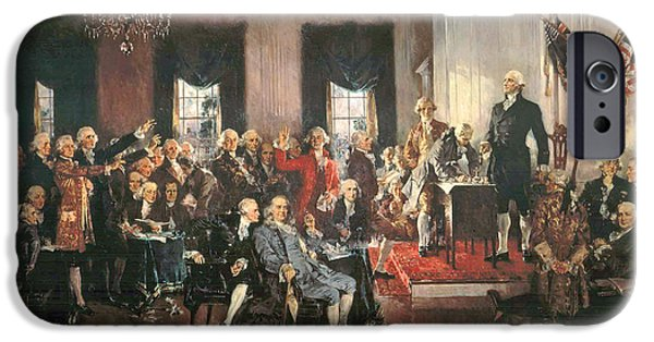 Political iPhone Cases - The Signing of the Constitution of the United States in 1787 iPhone Case by Howard Chandler Christy