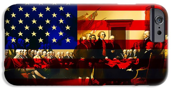 Fourth Of July iPhone Cases - The Signing of The United States Declaration of Independence and Old Glory 20131220 iPhone Case by Wingsdomain Art and Photography
