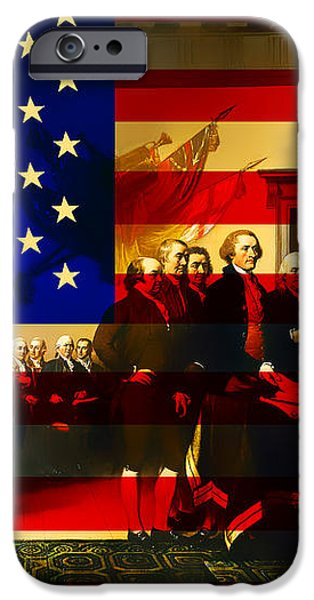 The Signing of The United States Declaration of Independence and Old Glory 20131220 iPhone Case by Wingsdomain Art and Photography