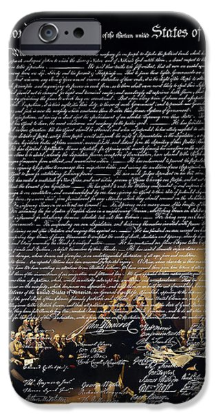 Recently Sold -  - 4th July iPhone Cases - The Signing of The United States Declaration of Independence v2 iPhone Case by Wingsdomain Art and Photography