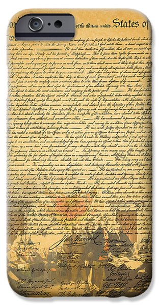 Fourth Of July iPhone Cases - The Signing of The United States Declaration of Independence iPhone Case by Wingsdomain Art and Photography
