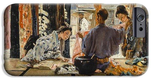 Merchants iPhone Cases - The Silk Merchant, Japan, 1892 Oil On Canvas iPhone Case by Robert Frederick Blum