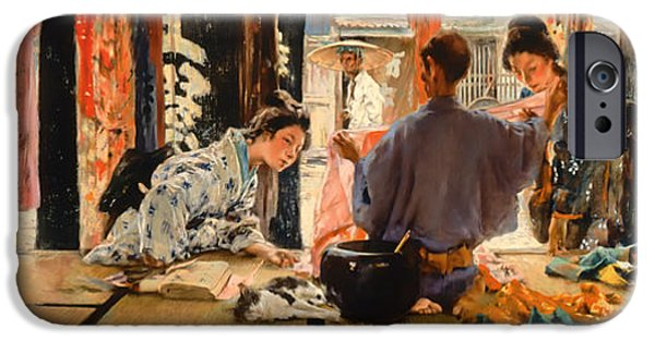 Business Paintings iPhone Cases - The Silk Merchant Japan iPhone Case by Robert Blum