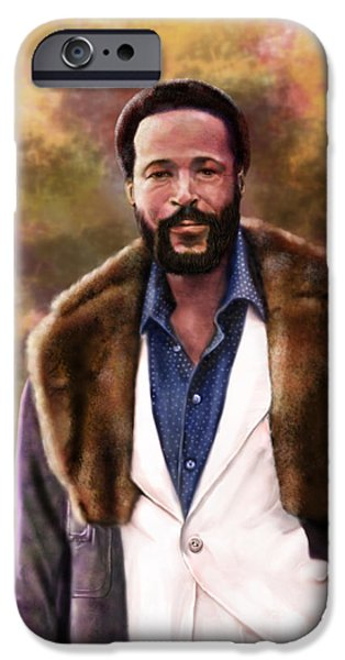 Super Stars iPhone Cases - The Silky Silky Soul Singer - Marvin Gaye  iPhone Case by Reggie Duffie