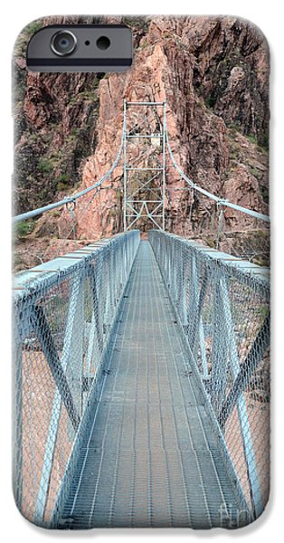 River View iPhone Cases - The Silver Bridge Spanning the Colorado River at the bottom of Grand Canyon National Park iPhone Case by Shawn O