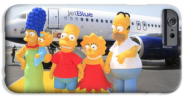 Animation iPhone Cases - The Simpsons are ready to board their plane iPhone Case by Nina Prommer