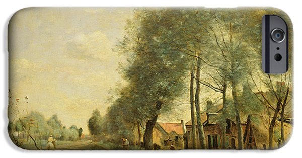 Noble iPhone Cases - The Sin-le-noble Road Near Douai, 1873 Oil On Canvas iPhone Case by Jean Baptiste Camille Corot