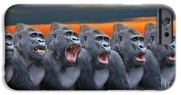 Bonding iPhone Cases - The Singing Gorillas iPhone Case by Jim Fitzpatrick