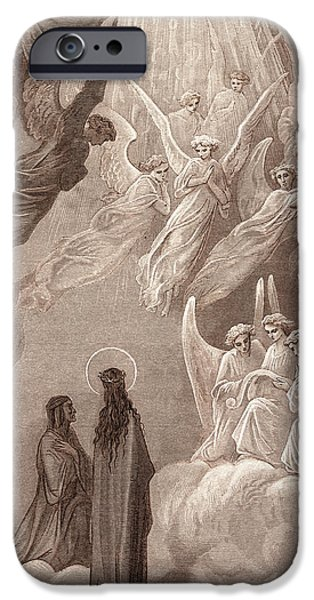 The Sun God iPhone Cases - The Singing of the Blessed in the Sixth Heaven iPhone Case by Gustave Dore