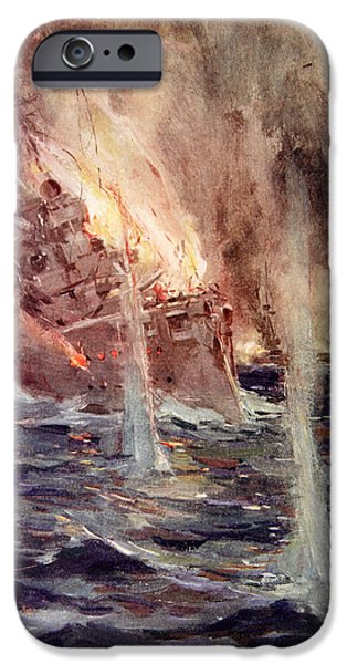 World War One Paintings iPhone Cases - The Sinking of the Gneisenau iPhone Case by Cyrus Cuneo