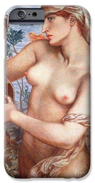 Figures Paintings iPhone Cases - The Siren iPhone Case by Dante Charles Gabriel Rossetti
