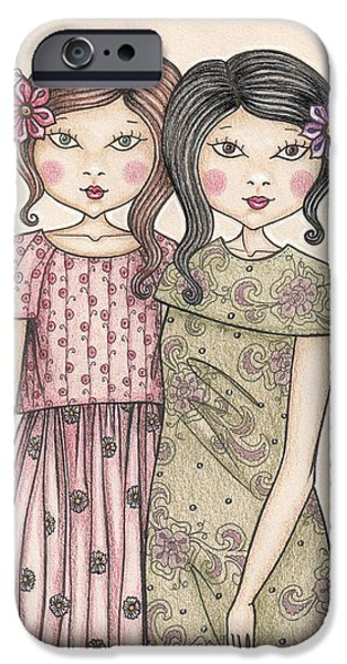 Sisters Drawings iPhone Cases - The sisters iPhone Case by Snezana Kragulj