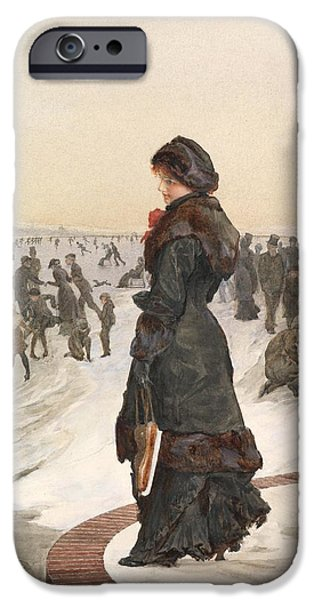 On Paper Paintings iPhone Cases - The Skater iPhone Case by Edward John Gregory