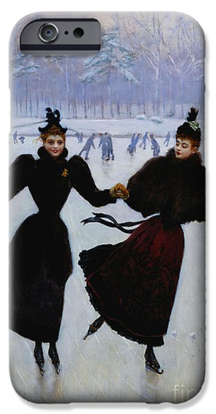 Figures iPhone Cases - The Skaters iPhone Case by Jean Beraud