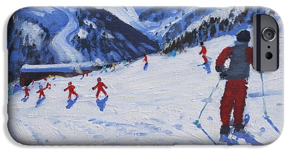 Winter Sports Paintings iPhone Cases - The ski instructor iPhone Case by Andrew Macara