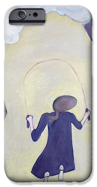 Pastimes iPhone Cases - The Skipping Rope, 1983 Oil On Canvas iPhone Case by Celia Washington