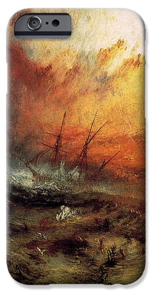 Slaves iPhone Cases - The Slave Ship 1840 iPhone Case by J M W Turner