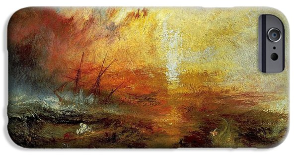 Slave Paintings iPhone Cases - The Slave Ship iPhone Case by Joseph Mallord William Turner