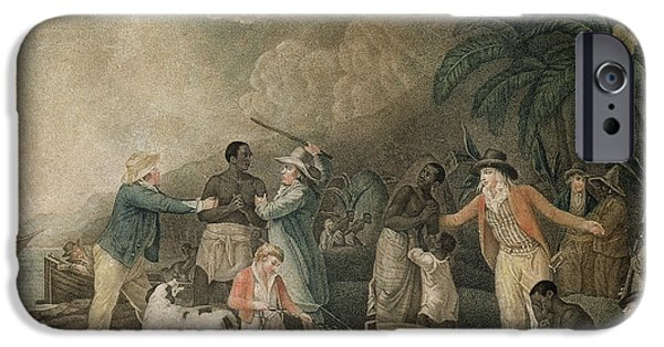 Slaves Photographs iPhone Cases - The Slave Trade, 1835 Coloured Engraving iPhone Case by George Morland