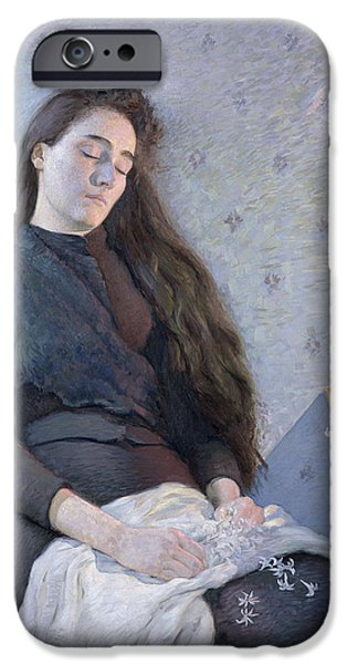 Shawl iPhone Cases - The Sleeping Flower Girl, 1892 Oil On Canvas iPhone Case by Eugene Assezat de Bouteyre