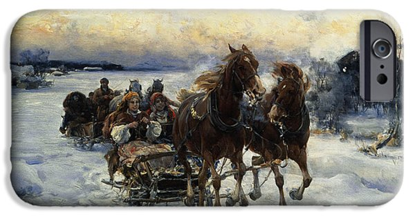 Pulling Paintings iPhone Cases - The Sleigh Ride iPhone Case by Alfred von Wierusz Kowalski