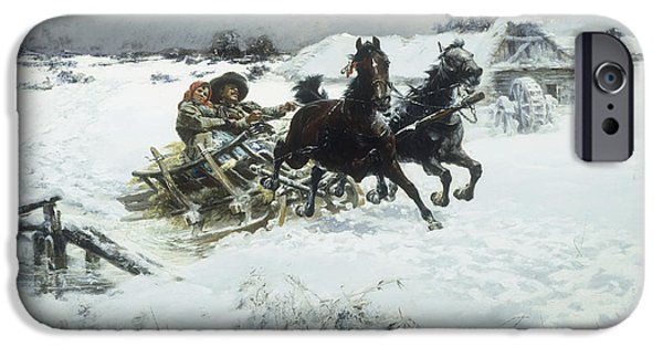 Snow-covered Landscape Paintings iPhone Cases - The Sleigh ride iPhone Case by Jaroslav Friedrich Julius Vesin