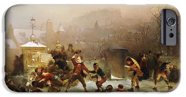 Young Boy iPhone Cases - The Slide Below the Castle Edinburgh iPhone Case by John Ritchie