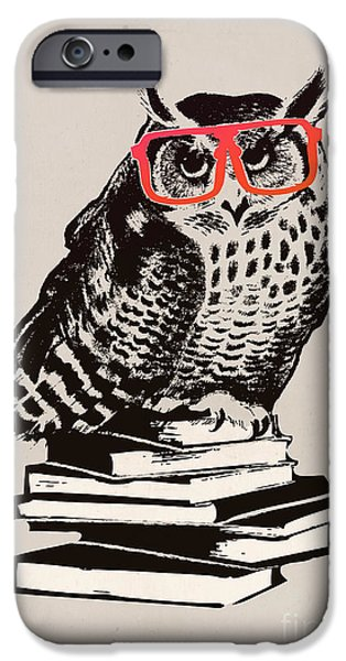 Child Digital iPhone Cases - The smart nerdy owl iPhone Case by Budi Kwan