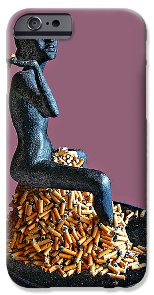 Nudes Sculptures iPhone Cases - The Smoker iPhone Case by James Igguu