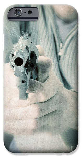 Police iPhone Cases - The Smoking Gun iPhone Case by Edward Fielding