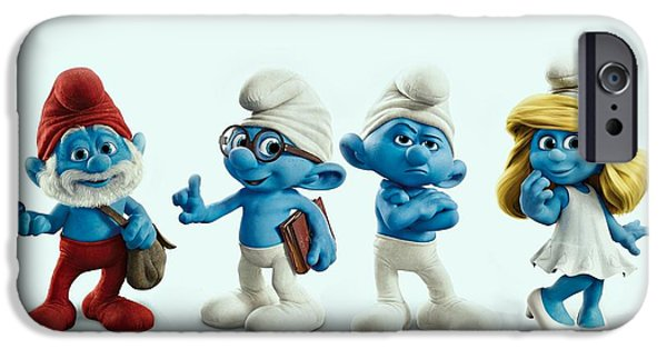 Animation iPhone Cases - The Smurfs Movie iPhone Case by Movie Poster Prints