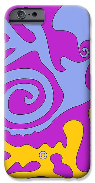 Printmaking iPhone Cases - The Snail adn the Lizard iPhone Case by Cathy Peterson