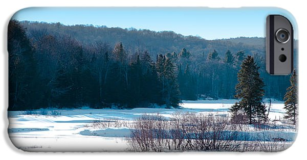 Snow Scene iPhone Cases - The Snow Covered Moose River iPhone Case by David Patterson