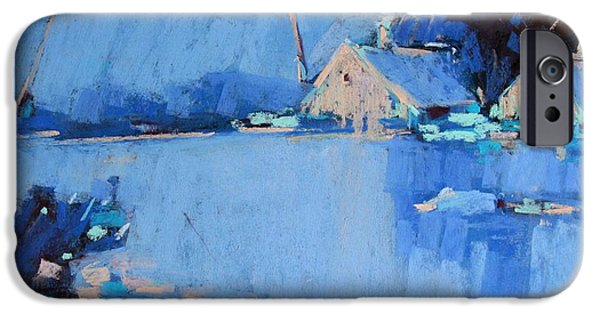 Village Pastels iPhone Cases - The snow field iPhone Case by Alena Kogan