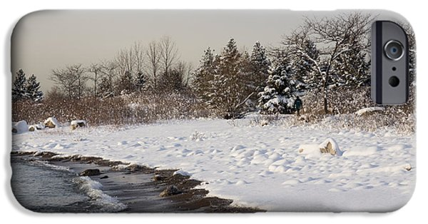 Snowbank iPhone Cases - The Snow Just Stopped - a Winter Beach on Lake Ontario iPhone Case by Georgia Mizuleva