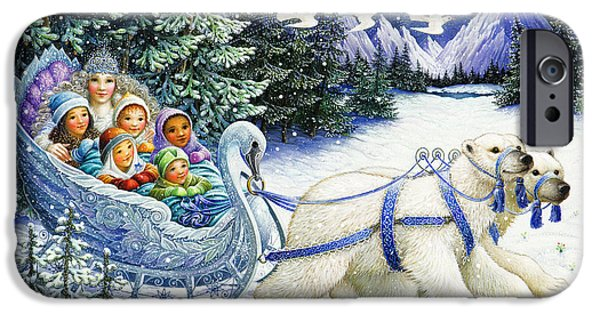 Snow Paintings iPhone Cases - The Snow Queen iPhone Case by Lynn Bywaters
