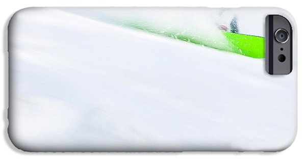 Skiing Art iPhone Cases - The Snowboarder And The Snow iPhone Case by Theresa Tahara
