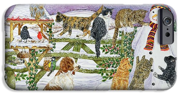 Springer Spaniel iPhone Cases - The Snowman And His Friends Wc On Paper iPhone Case by Catherine Bradbury